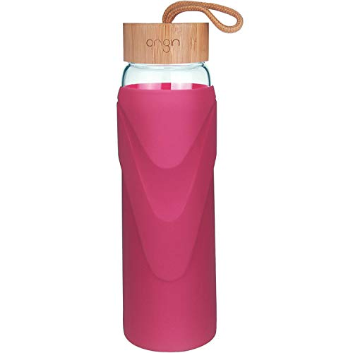Water Magenta - ORIGIN - Best WIDEMOUTH BPA-Free Glass Water Bottle with Protective Silicone Sleeve and Bamboo Lid - Dishwasher Safe (Magenta, 24 Ounce)