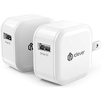 iClever Boostcube 12W 2.4A USB Wall Charger 2-Pack Mini Travel AC Adapter for iPhone X/8/7/7 Plus/6S/6 Plus, iPad Pro Air/Mini and other Cell Phone, Tablet