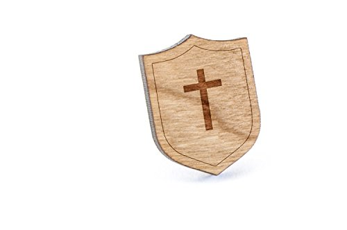 Price comparison product image Christian Cross Lapel Pin, Wooden Pin