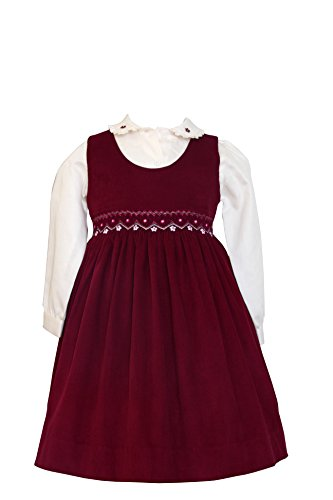 Carouselwear Baby Girls Fall Winter Corduroy Smocked Dress Long Sleeve -