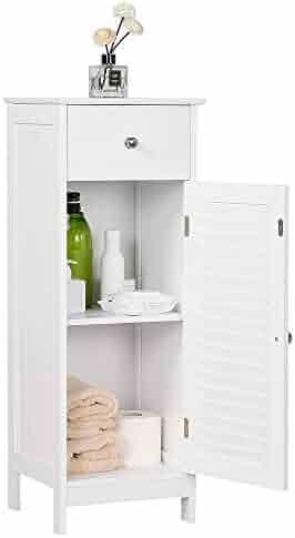 Double Door Bathroom Storage Cabinet Free-Standing Adjustable Shelves White