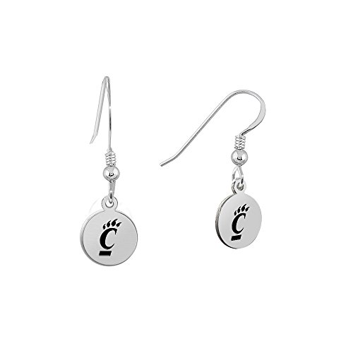 University of Cincinnati Bearcats Satin Finish Small Stainless Steel Disc Charm Earrings - See Model for Size Reference - Cincinnati Bearcats Stainless Steel