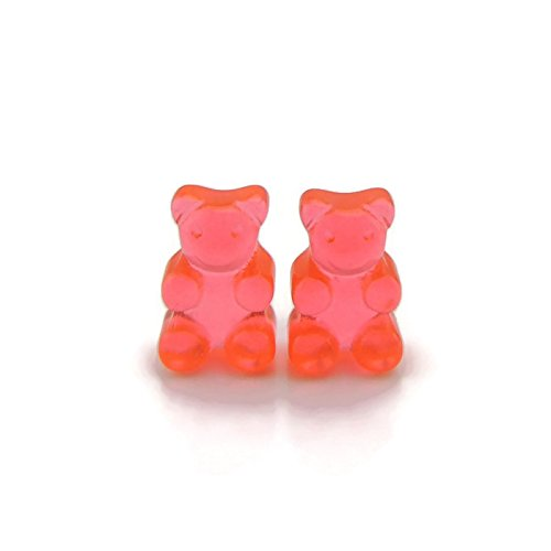 Red Gummy Bear Earrings on Hypoallergenic Plastic Posts for Metal Sensitive Ears