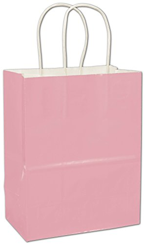 Solid Color Pattern Shopping Bags - Pink High Gloss Paper Shoppers, 8 1/4 x 4 3/4 x 10 1/2