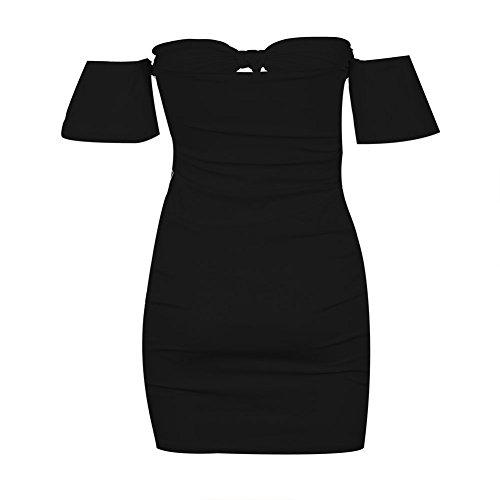 Chicfor Femmes Sexy Robe Moulante À Manches Courtes Au Large De L'épaule Club Mini Robe De Soirée Noire Plissée