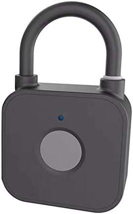 指紋ロック タッチロック ジム/ロッカー/荷物スーツケース/バックパックに適したバイオメトリック拇印ロックミニスマート指紋南京錠USB充電キーレスセキュリティロック 盗難防止セキュリティロック (色 : ブラック, サイズ : 5.6x3.3x1.45cm)