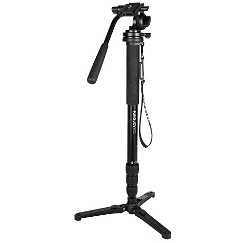 Kingjoy MP Series Monopod Tripod 4-Section Twist Lock Telescoping Legs with Fluid Drag Head and Folding Three Support Stand Base, Compact, Black (MP3008+KH-6750)