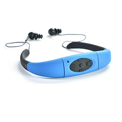 MP3 Player Headset for Women Men,elecfan 8GB Waterproof Earphone with FM Radio Underwater Sports Headphone Neckband for Swimming Running Riding Walking SPA Water Sport - Blue by elecfan