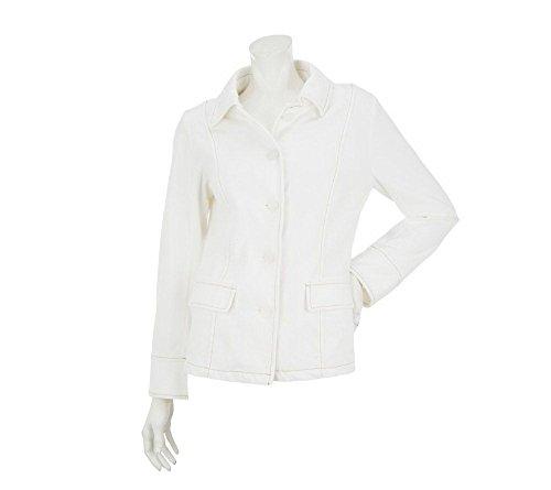 Stitch Denim Jacket (Bob Mackie's Smart Denim Button Front Jacket w/ Exposed Stitch)