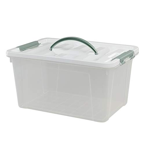 Saedy 14 Quart Latching Box, Great Funtionality Plastic Storage Bin with Lid, Clear Transparent Box with Handles