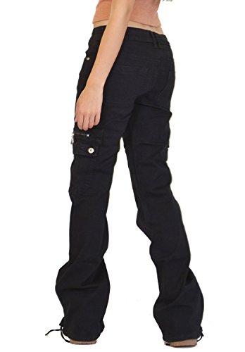 Vaqueros Cargo Jeans Militar Anchos De Sueltos Para Mujer Estilo Y Negro Combate a0wSqa7