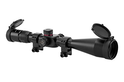 Monstrum Tactical 6-24x50 First Focal Plane (FFP) Rifle Scope with Illuminated Rangefinder Reticle and Adjustable Objective (Black)