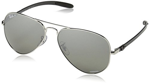 Ray-Ban RB8317CH Chromance Mirrored Aviator Sunglasses, Shiny Silver/Polarized Silver Mirror, 58 mm (Ray-ban Sonnenbrille Fall)