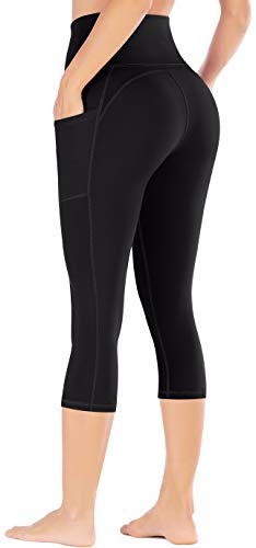 Ewedoos Yoga Pants with Pockets Ultra Soft and Comfy Yoga Leggings with Pockets for Running (EW327 Black, Large)