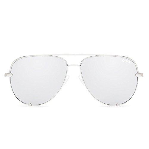 Quay Australia HIGH KEY Women's Sunglasses Classic Oversized Aviator - Silver Street Chic Women Apparel Retail