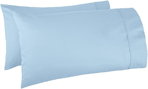 AmazonBasics 400 Thread Count Pillow Cases - King, Set of 2, Smoke Blue