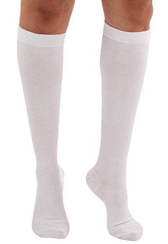 Cotton Unisex Socks - Graduated Cotton Compression Socks - Unisex Firm Support 20-30mmHg, Support Knee High's - Closed Toe, Color White, Size Large - Absolute Support, SKU: A105