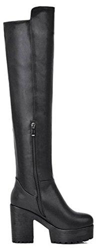 Noir Fermeture haut Bottes Talon latérale avec hautes glissière Chunky Easemax Habillé sur le genou à rond Bout plateforme tOq88TwzB