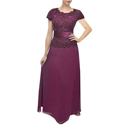 (WEISUN Women Short Sleeve Dress Lace Patchwork Solid Loose Party Dress Summer Long Maxi Dress Purple)