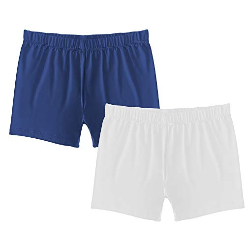 - Popular Girl's Premium Playground Shorts - 2 Pack - Navy and White - L (10/12)