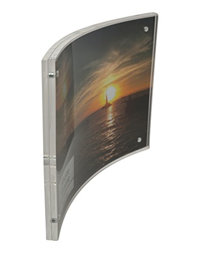 Crystal Clear Memories Curved Acrylic Magnet Frame (5x7), Clear Acrylic Picture Frame for Home and Office by