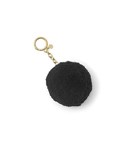 Michael Kors Shearling Pompom Gold Chain Keychain Purse Fob Black Not - Free Michael Kors Return