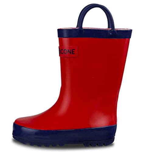 LONECONE Rain Boots with Easy-On Handles for Toddlers and Kids, Firetruck Red, Little Kid 1