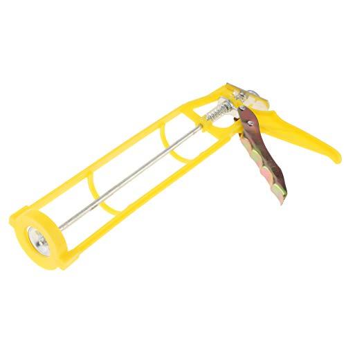 B Blesiya Stainless Steel Caulking Squeeze Caulk Gun Workforce Multifunction Yellow