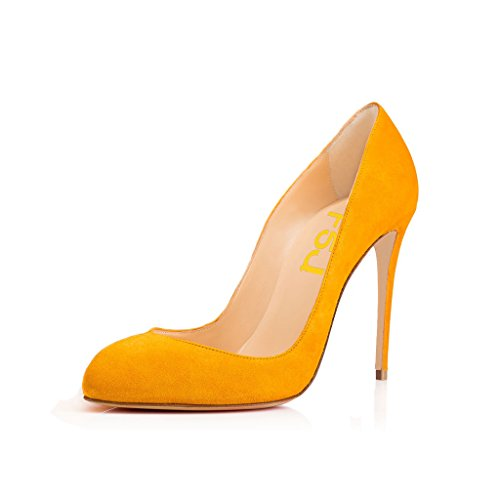 FSJ Women Stiletto High Heels Pumps Pointed Toe Slide Formal Party Evening Dress Shoes Size 4-15 US Yellow jtHldy