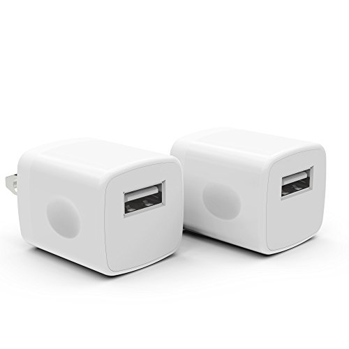 PowerJive Travel Wall Home USB Charger Adapter for iPhone 3/4/4S/5/5s/6/6s/7 Plus and iPod Touch Nano - White (2 - Home Usb Charger Travel
