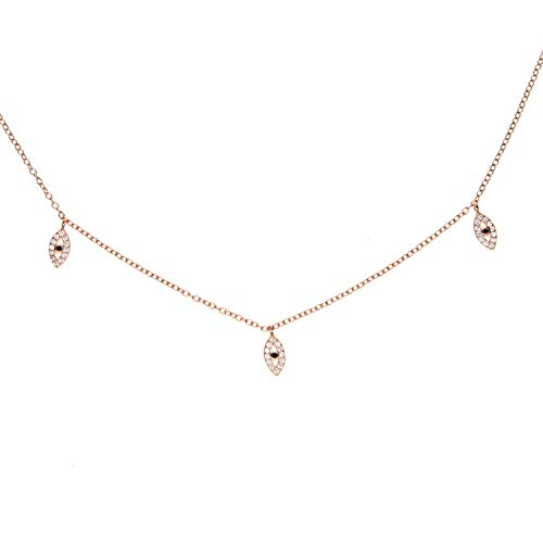 DLNCTD Delicate Cute Charm Jewelry Evil Eye Charm Choker 100% 925 Sterling Silver Pave Clear cz Women Fashion Elegant Charm Necklace