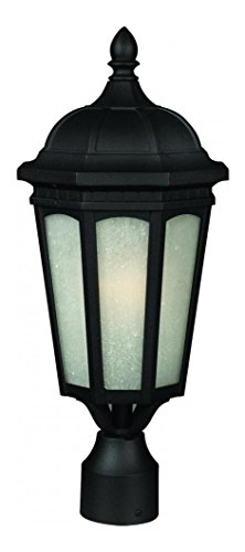 508PHB-BK Black Newport 1 Light Outdoor Post Light with White Seedy Shade
