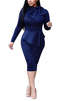 Dreamparis Womens Business Dress One Piece Suit Long Sleeve Tie Neck Peplum Top Bodycon Skirt