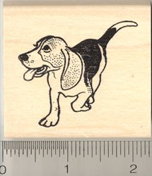Beagle Dog Rubber Stamp - Wood Mounted