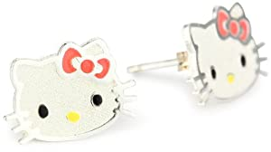 Hello Kitty Girl's Sterling Silver Pink Bow Stud Earrings from Hello Kitty