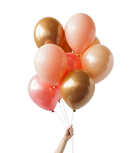 Peach And Gold Wedding (Rose Gold Chrome Gold Peach Blush Balloons Bouquet 24PCs for Wedding Bridal Shower Birthday Party Baby Shower)