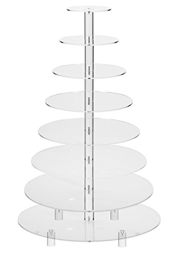 Jusalpha 8 Tier Round Acrylic Cupcake Stand-cake stand-dessert stand with base, cupcake Tower 8RFS