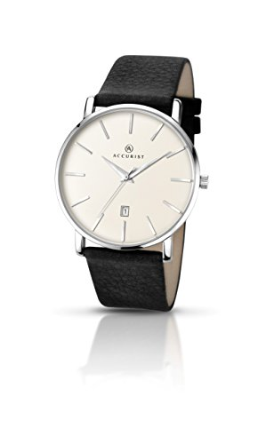 Accurist Gents Analogue Watch With Cream Dial And Black Leather Strap 7123