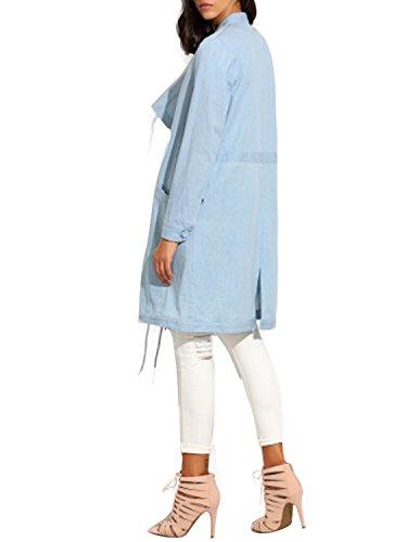 Solid Blue Pocket Coat Split Women's Lapel Sleeve HaoDuoYi Casual Long pxO6qwwFP