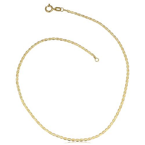 - Kooljewelry 10k Yellow Gold Valentino Anklet (1.2 mm, 10 inch)
