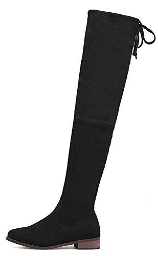 Aisun Damen Sexy Overknee Runde Zehen Blockabsatz Schnürung Schleife Elastisch Langschaft Stiefel Schwarz