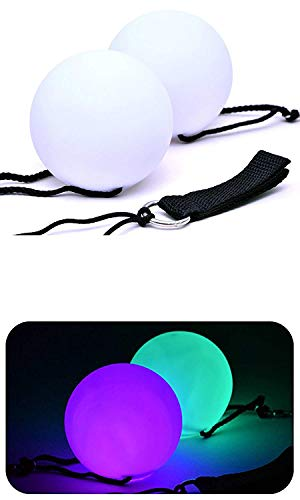 Set of 2 LED Light Up Spinning Rave Neon Glow Poi Balls for Dance Party Contact Juggling Great Alternative to Glowsticks and Hawaiian Fire Poi Balls