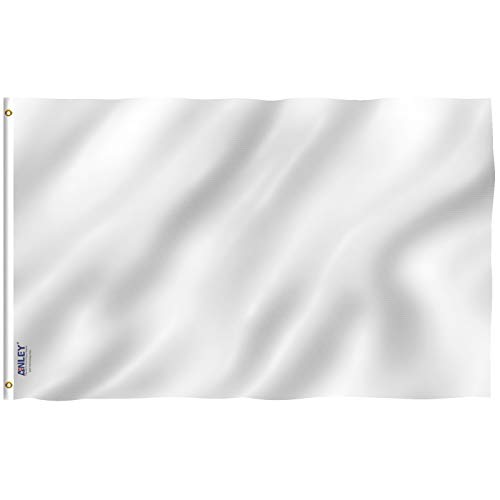 Anley Fly Breeze 3x5 Foot Solid White Flag - Vivid Color and UV Fade Resistant - Canvas Header and Double Stitched - Plain White Flags Polyester with Brass Grommets 3 X 5 Ft