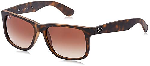 RAY-BAN RB4165 Justin Rectangular Sunglasses, Rubber Light Havana/Brown Gradient, 55 mm