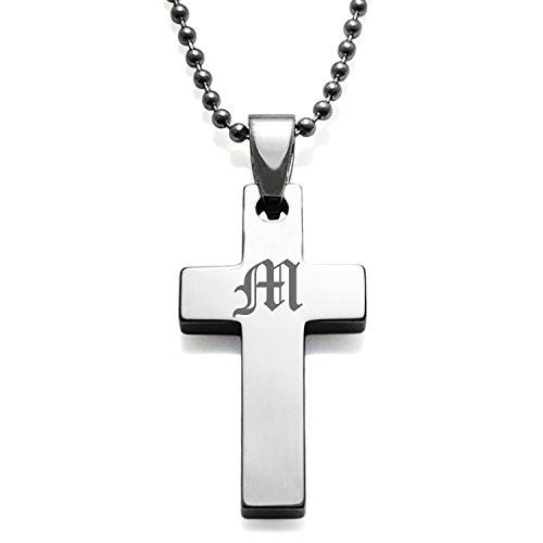 - Tungsten Cross Alphabet Letter M Initial Old English Monogram Engraved Pendant Necklace