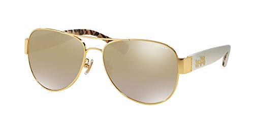 (Coach Womens Sunglasses Ivory/Gold Metal - Non-Polarized - 58mm)