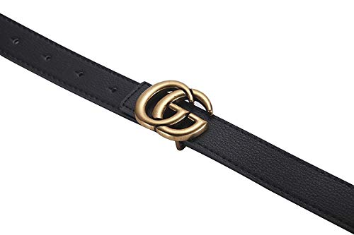 69a1273caad GG Women s Genuine Leather Retro Vintage Dress Belts for Jeans with Letter  Buckle (90CM