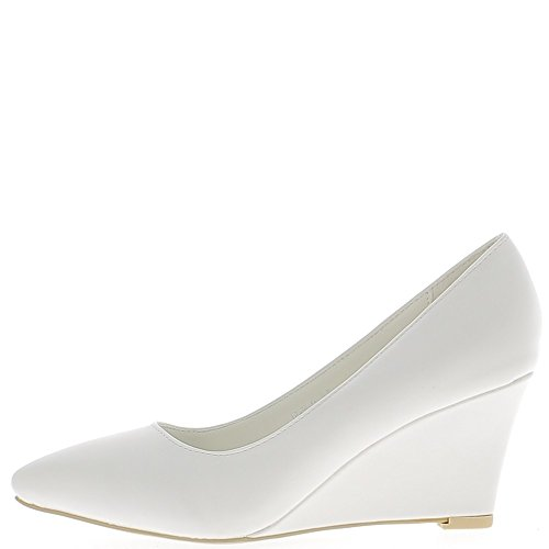 Chaussures femme compensées blanches bouts pointus à talon de 7 cm