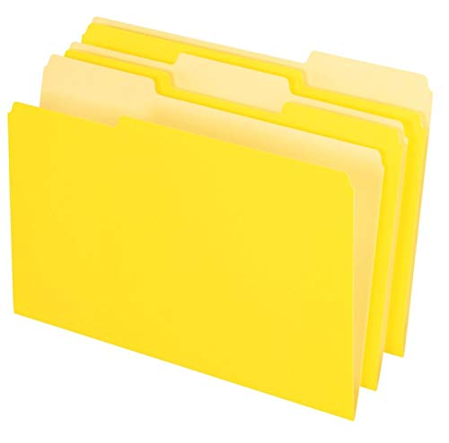 Office Depot Two-Tone Color File Folders, 1/3 Tab Cut, Legal Size, Yellow, Pack of 100, OD153 1/3 YEL ()