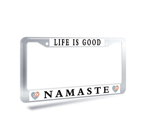 Nuoyizo Life Is Good Namaste Stainless Steel License Plate Frame Yoga Heart License Plate Cover Fluorescence Auto Tag Holder Metal Car Tag Frame With Two Chrome Screws Caps